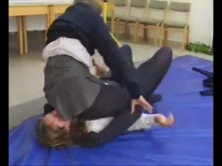 School girls pin wrestling first match